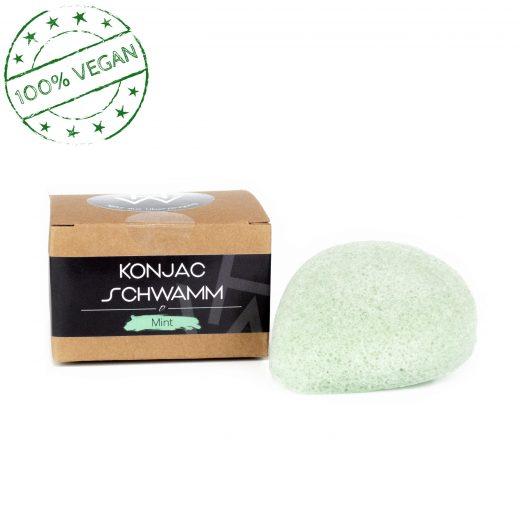 Natürlich hergestellter veganer Konjac Schwamm zum Reinigen, Pflegen und abschminken der Gesichtspartien.