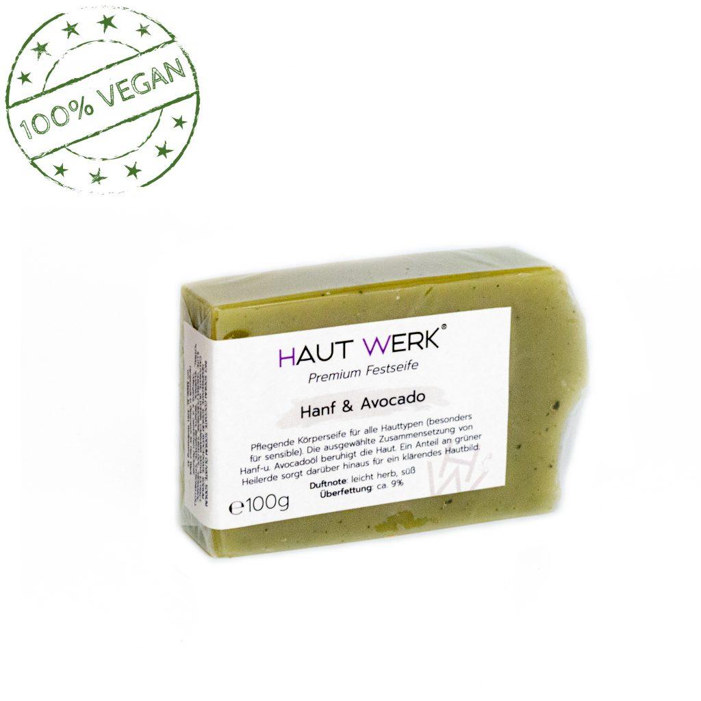 Hanf & Avocado (front) - Handgeschöpfte und natürliche Seife von Haut Werk.